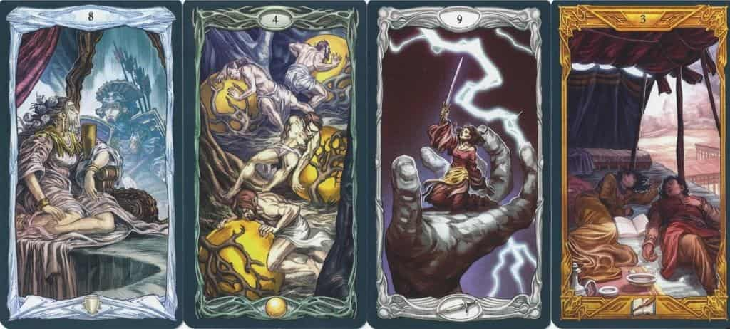 Several minors from the Epic Tarot