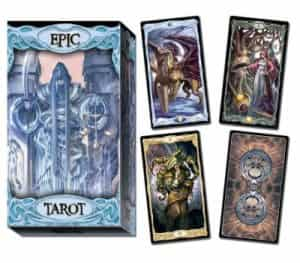 Epic Tarot box and a few cards, including Epic Tarot back