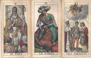 Soprafino Tarot Majors. Il Papa (Hierophant), La Forza (Strength) and Gli Amanti (Lovers).