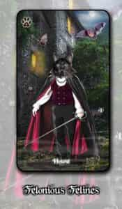 First image for the Felonious Felines Lenormand. The House card, which features a Dracula inspired black cat. These are very early designs, so they can definitely change over time.