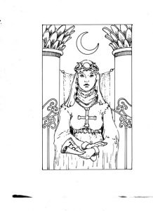 A sketch for The High Priestess.