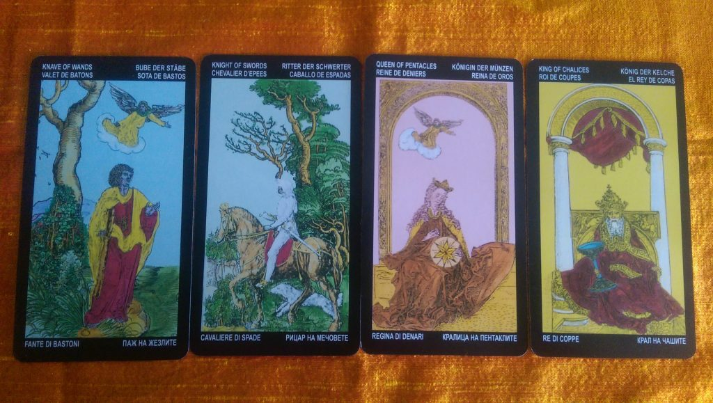 Durer's Tarot courts. For every figure the same image is used. Just another suit symbol and color throughout the courts.