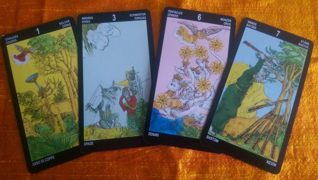 Another set of Durer's Tarot minors. The 3 of Swords and the 6 of Pentacles have the monsters. In most cases the Wand card hold completely existing paintings. It is the least 'added to' suit.