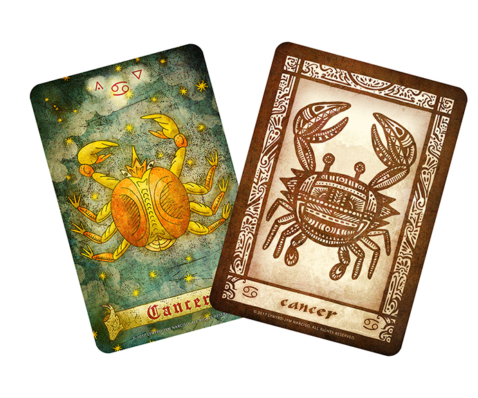 Zodiac Oracle Cancer cards. (L) The oracle from the Gravenchase Lenormand, (R) the card from the Anino Zodiac Oracle. The Queen's Sword Artist's Advice