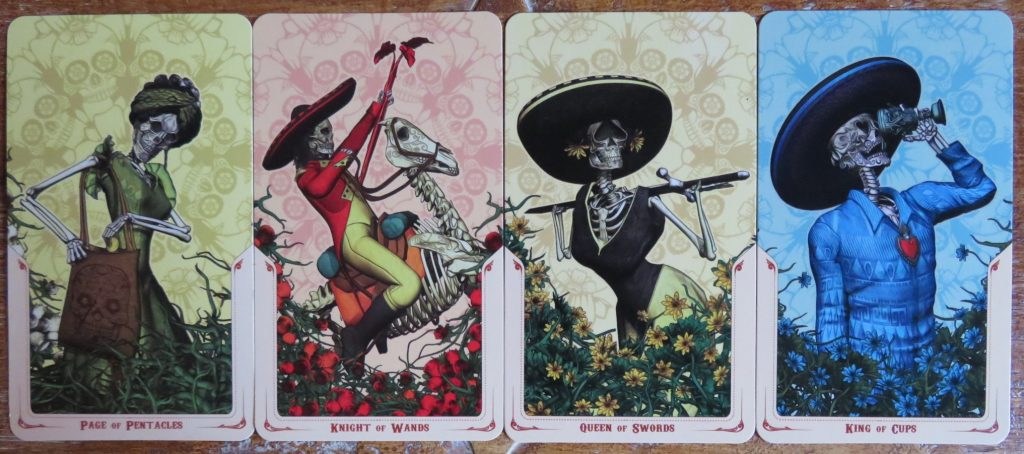 A tote bag carrying Page and more awesome court cards in The Santa Muerte Tarot. The Queen's Sword Review