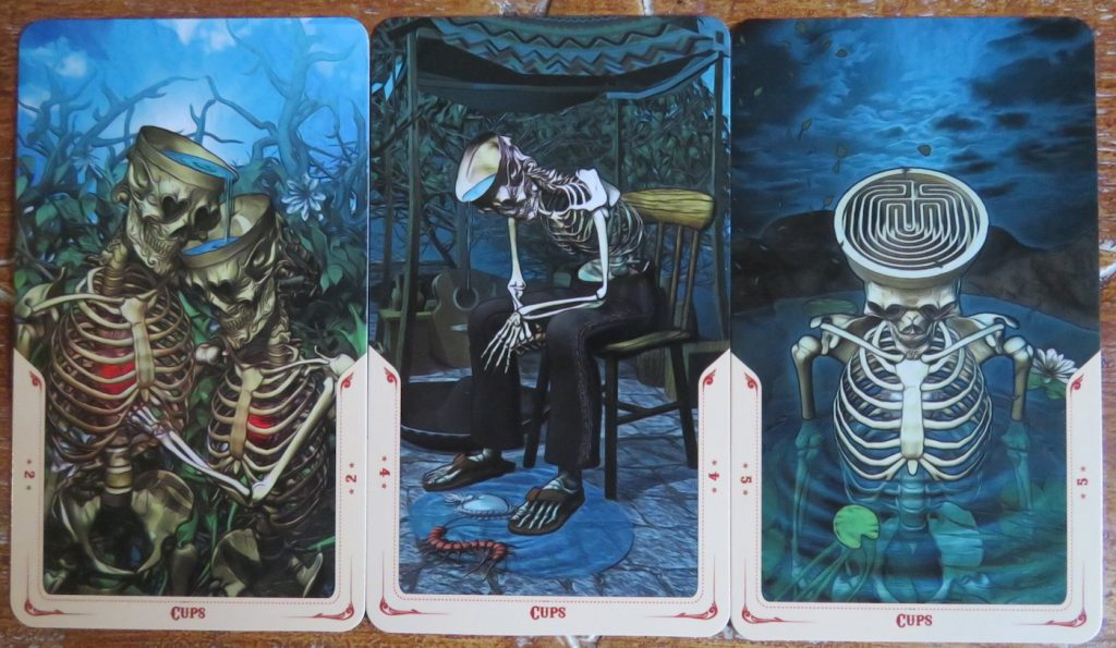 Well thought out cup cards, called Chalices in The Santa Muerte Tarot. Review The Queen's Sword