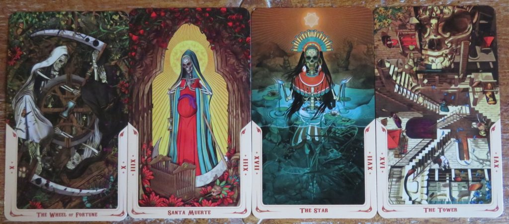 XIII Death is Our lady of Holy Death in the Santa Muerte Tarot -obviously. Sadly it is actually one of the least attractive cards in the deck. My eyes are drawn towards the great imagery of The Wheel, The Star and The Tower. Review The Queen's Sword