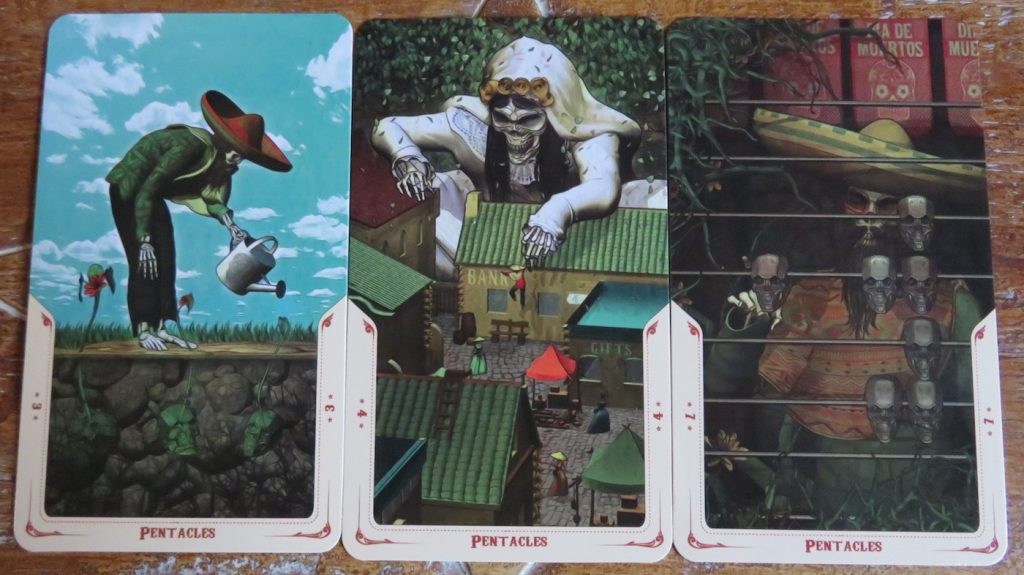 Santa Muerte Tarot Minors: a few examples of the Pentacles. The Queen's Sword Review.