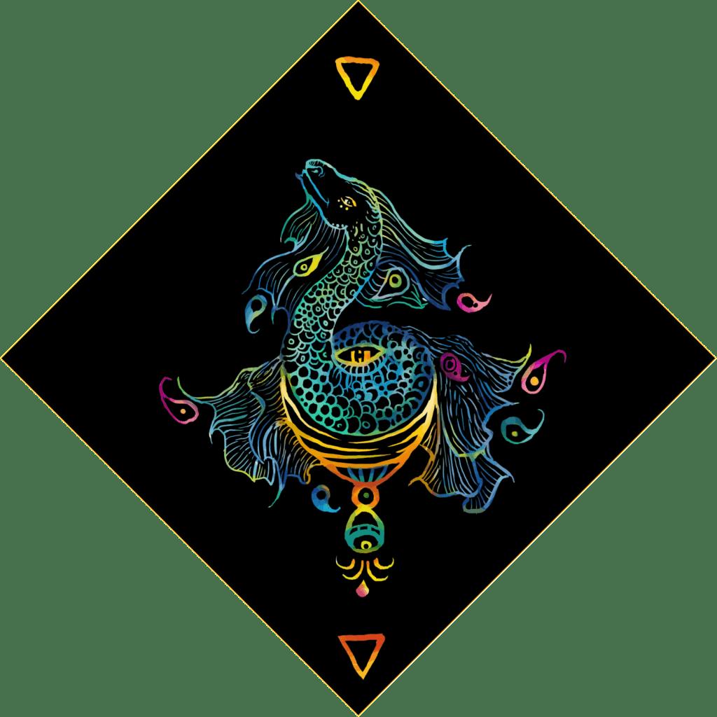 Queen of Cups card Starlight Dragon tarot